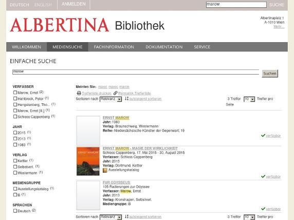 Screenshot von http://opac.albertina.at/de-de/mediensuche/einfachesuche.aspx?Search=marow